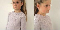 Пуловер для девочки спицами сверху