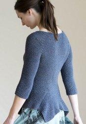 Вязание спицами для женщин пуловера с баской из льняной пряжи на лето