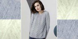 Пуловер регланом спицами