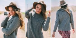 Пуловер с резинкой спицами