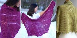 Женская шаль, вязаная спицами скрещенной резинкой
