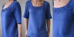 Пуловер блуза спицами