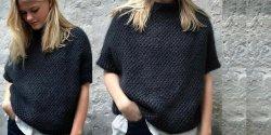 Пуловер кимоно спицами