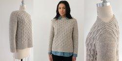 Пуловер аранами спицами