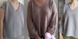 Пуловер с V горловиной, вязаный сверху
