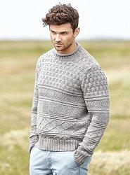 Пуловер мужской спицами Docking
