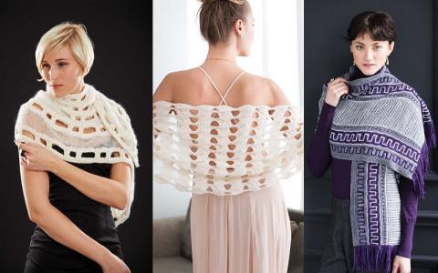 Вязание спицами шали новые модели 2016 года с описанием и схемами из журнала Vogue