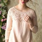 Пуловер на ажурной кокетке Celosia