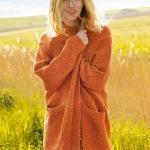 Оранжевое твидовое пальто